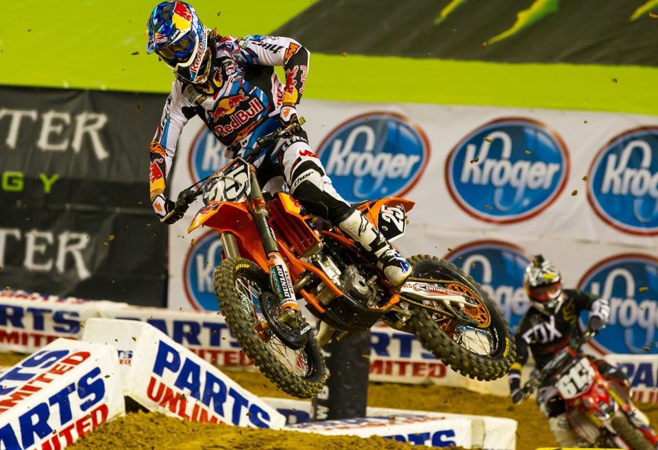 This was our first chance to see French import Marvin Musquin in the 250 class. He was fast all day but crashed in turn one in the main event and had to charge from dead last to 6th.
