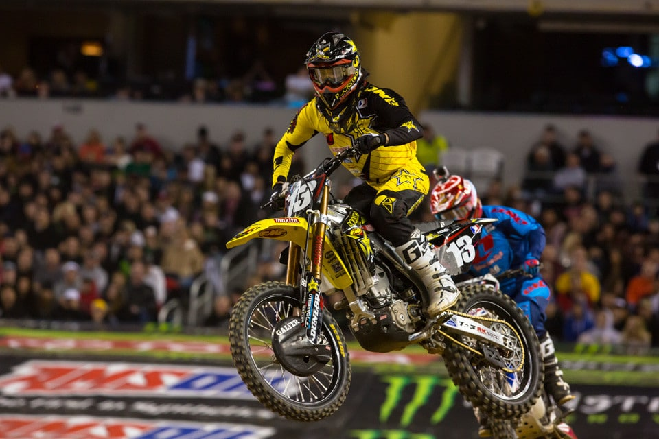 As I said, fresh faces and numbers are seen when the east coast starts up. Blake Wharton of the Rockstar Energy Racing team started out the night by having to make the main through the LCQ. He managed to win that and grab 2nd in the main behind Dean Wilson, but he was way off the pace of the PC rider.