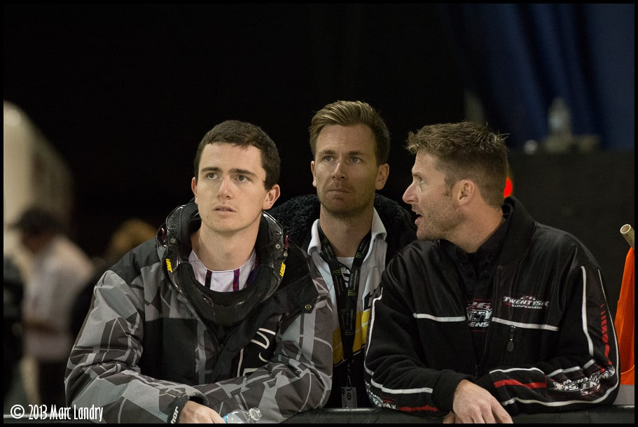 Cole Thompson, Kyle Thompson, and Canadian Flat Track legend Steve Beatty talking shop. Photo by Marc Landry